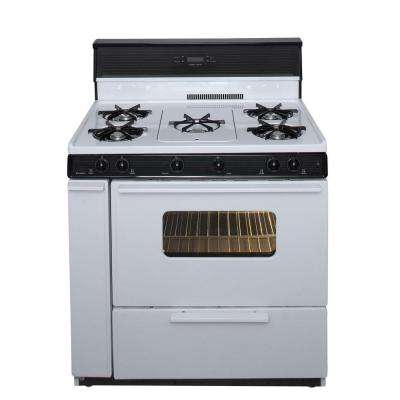 36 in. 3.91 cu. ft. Freestanding Gas Range with 5th Burner and Griddle Package in White