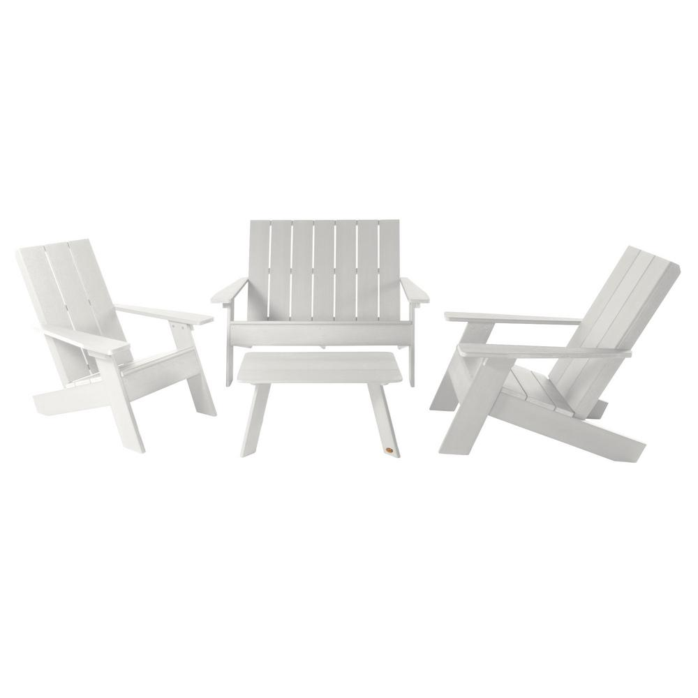 Highwood Modern Barcelona White 4 Piece Patio Conversation Set Ad Kitchrad01 Whe The Home Depot