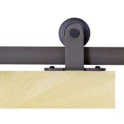 Top Mount 72 in. Antique Bronze Barn Style Sliding Door Track and Hardware Set