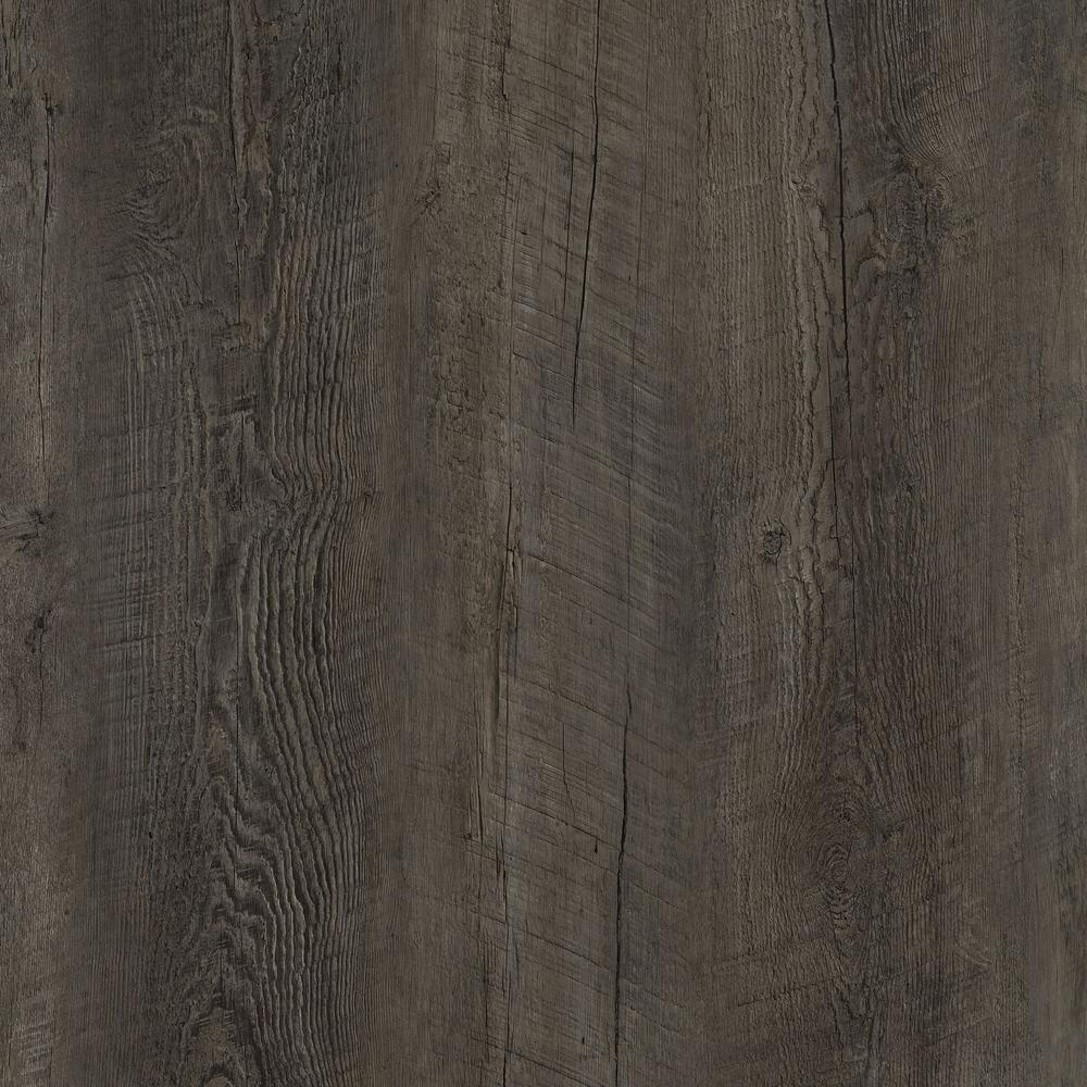 Lifeproof take home sample dark oak luxury vinyl for Dark wood vinyl flooring
