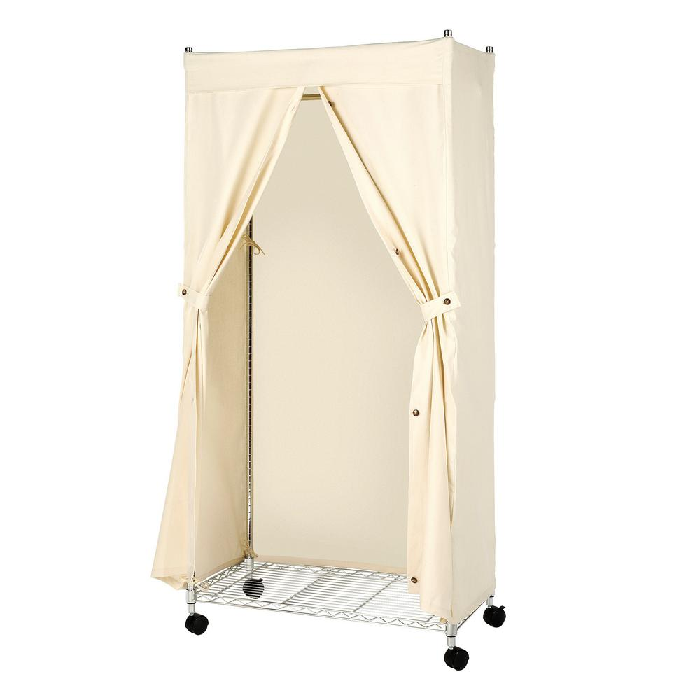 "71/"" Garment Rack Cover For Closet Storage Portable Wardrobe Clothes With Shelf"