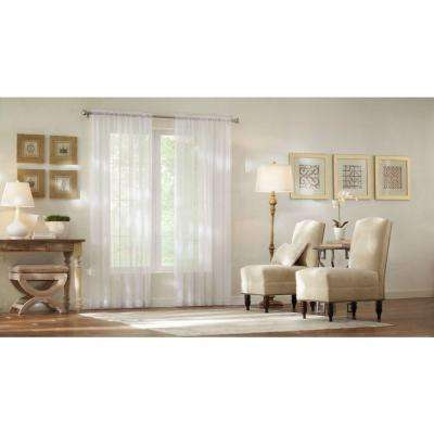 Sheer White Sheer Voile Rod Pocket Curtain
