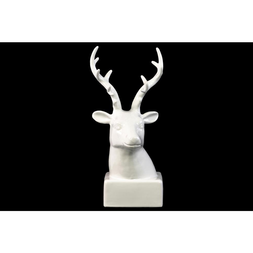 12.25 in. H Head Decorative Sculpture in White Gloss Finish