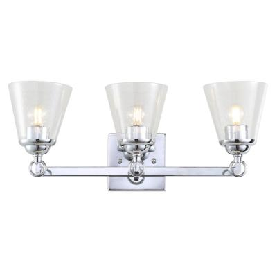 Marion 21 in. 3-Light Hurricane Metal/Glass Chrome Vanity Light