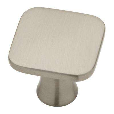 Lindley 1-3/16 in. (30 mm) Satin Nickel Square Cabinet Knob (10-Pack)
