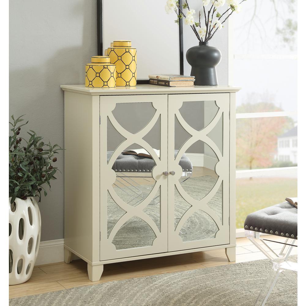 Willow Cream Large Cabinet with Mirror Door