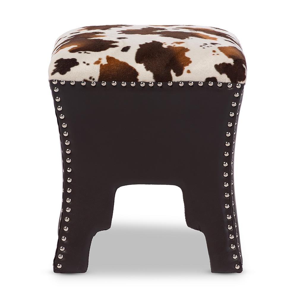 Fantastic Baxton Studio Sally Traditional Cow Print Fabric Upholstered Dailytribune Chair Design For Home Dailytribuneorg