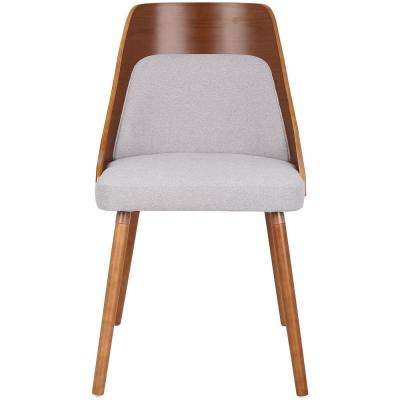 Anabelle Mid-Century Walnut and Grey Modern Dining Chair