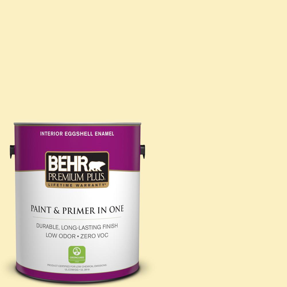 BEHR Premium Plus 1-gal. #380A-2 Moonlit Yellow Zero VOC Eggshell Enamel Interior Paint
