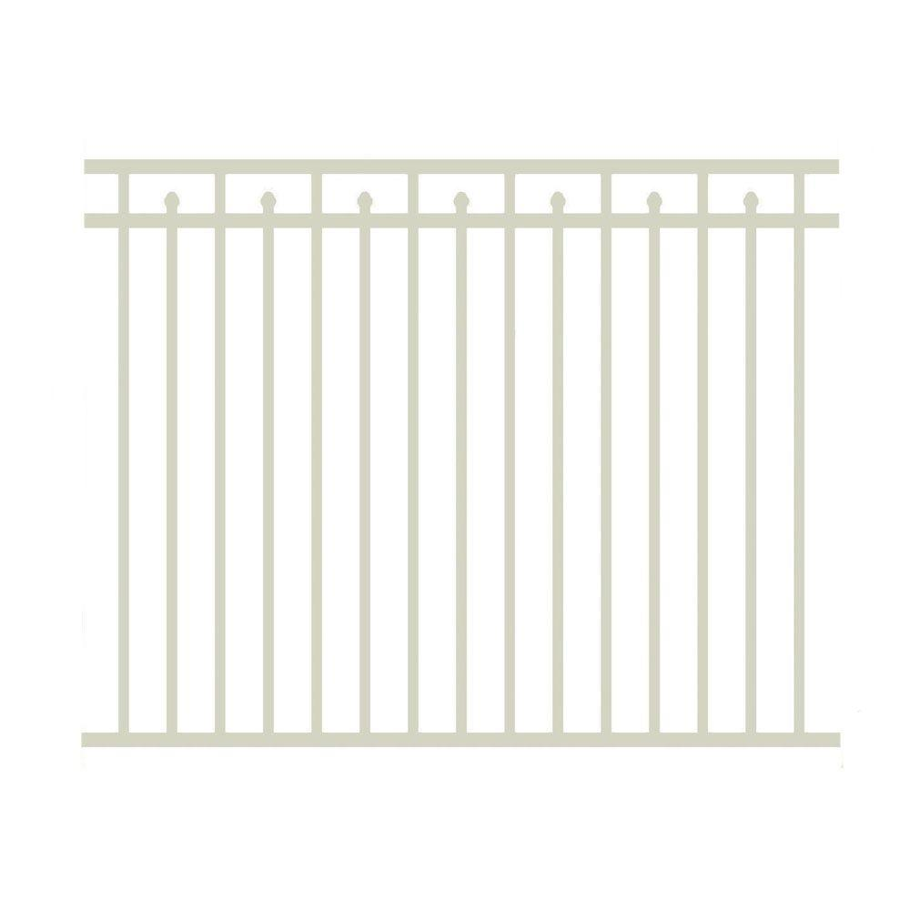 Allure Aluminum 4.5 ft. H x 6 ft. W Aluminum Sandstone Unassembled Provincial Style Single 3-Rail Fence Panel-DISCONTINUED