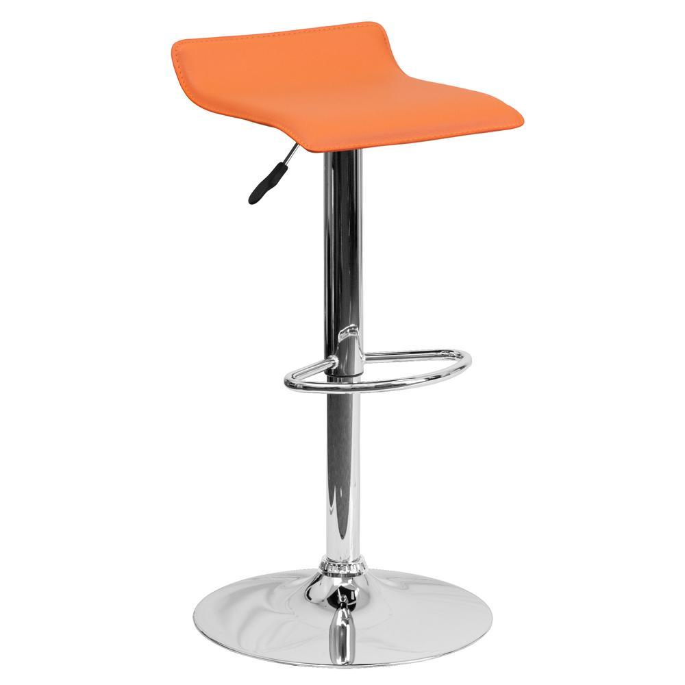 31.25 in. Adjustable Height Orange Cushioned Bar Stool