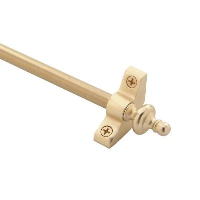 Plated Inspiration Collection Tubular 48 in. x 3/8 in. Brushed Brass Finish Stair Rod Set with Urn Finials