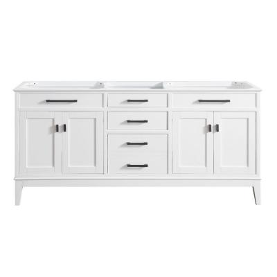 Madison 72 in. W x 21 in. D x 34 in. H Vanity Cabinet in White