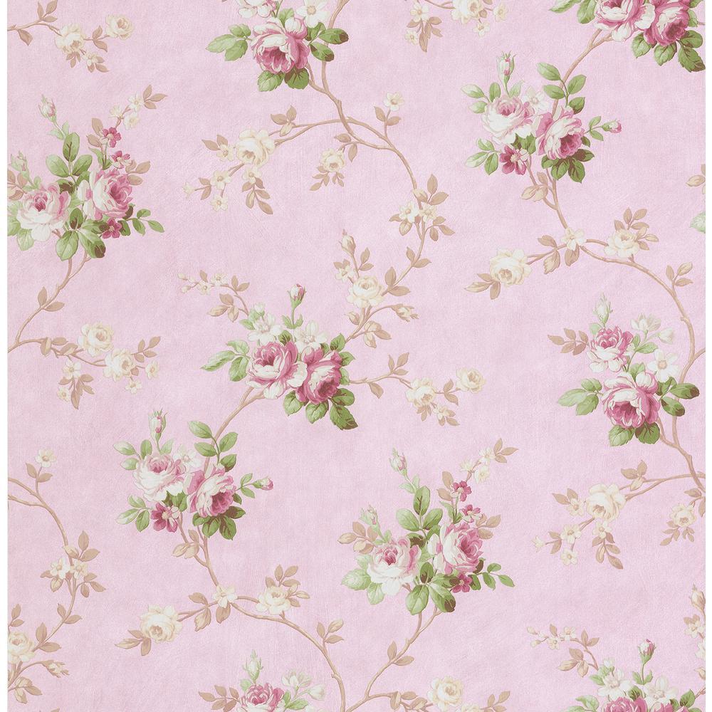 Gabriella Pink Floral Trail Wallpaper