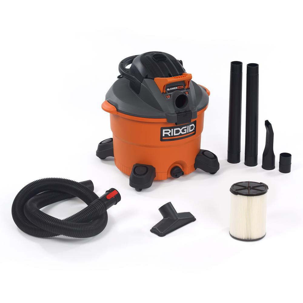 RIDGID 12 Gal. 5.0-Peak HP Wet Dry Vac with Detachable Blower