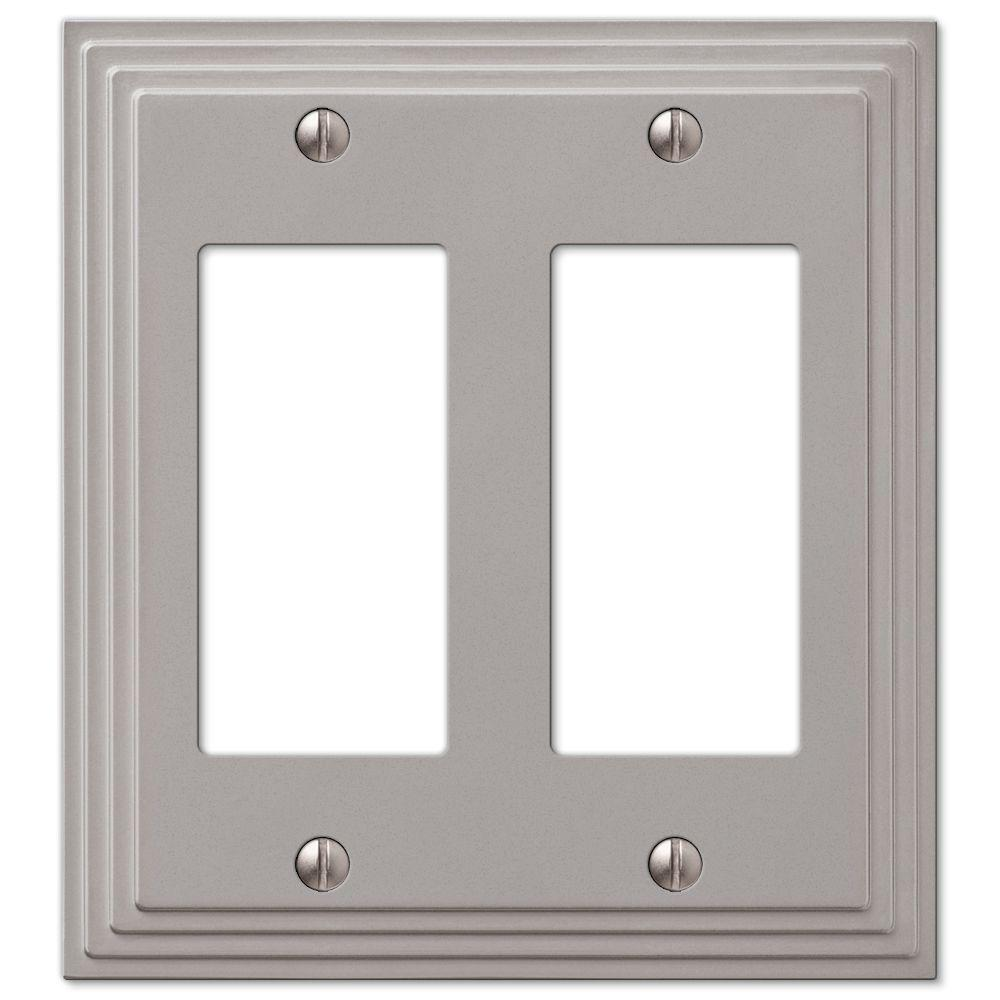 Hampton Bay Tiered 2-Decora Wall Plate, Satin Nickel Cast