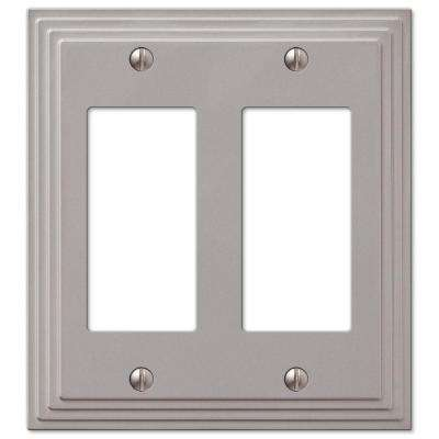 Tiered 2 Gang Rocker Metal Wall Plate - Satin Nickel