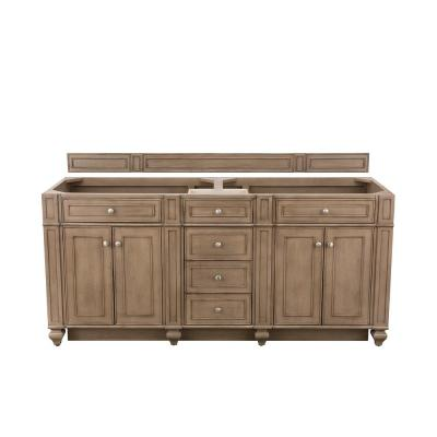 Bristol 72 in. W Bathroom Double Vanity Cabinet Only in Whitewashed Walnut
