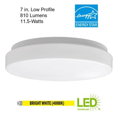 7 in. Low Profile Flat Lens LED Flush Mount Ceiling Light 11.5-Watt 810 Lumens 4000K Bright White ENERGY STAR (4-Pack)