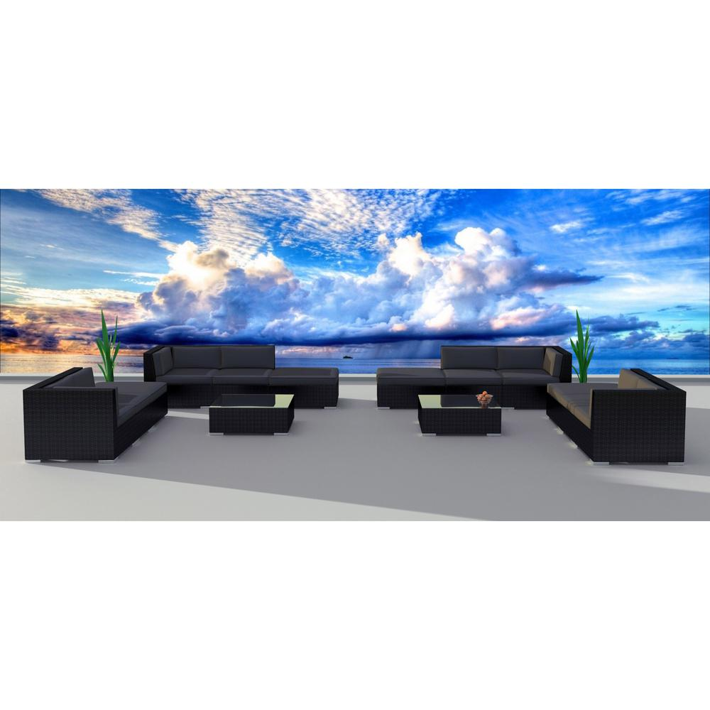 Urban Furnishing Black Series 14-Piece Wicker Outdoor Sectional Seating Set with Gray Cushions