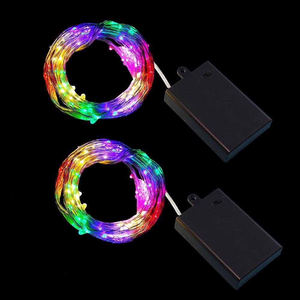 100-Light LED Battery Operated Multi-Color Multi-Strand Fairy String Lights (Set of 2)