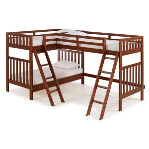 Aurora Chestnut  Twin Over Twin Bunk Bed with Third Bunk Extension