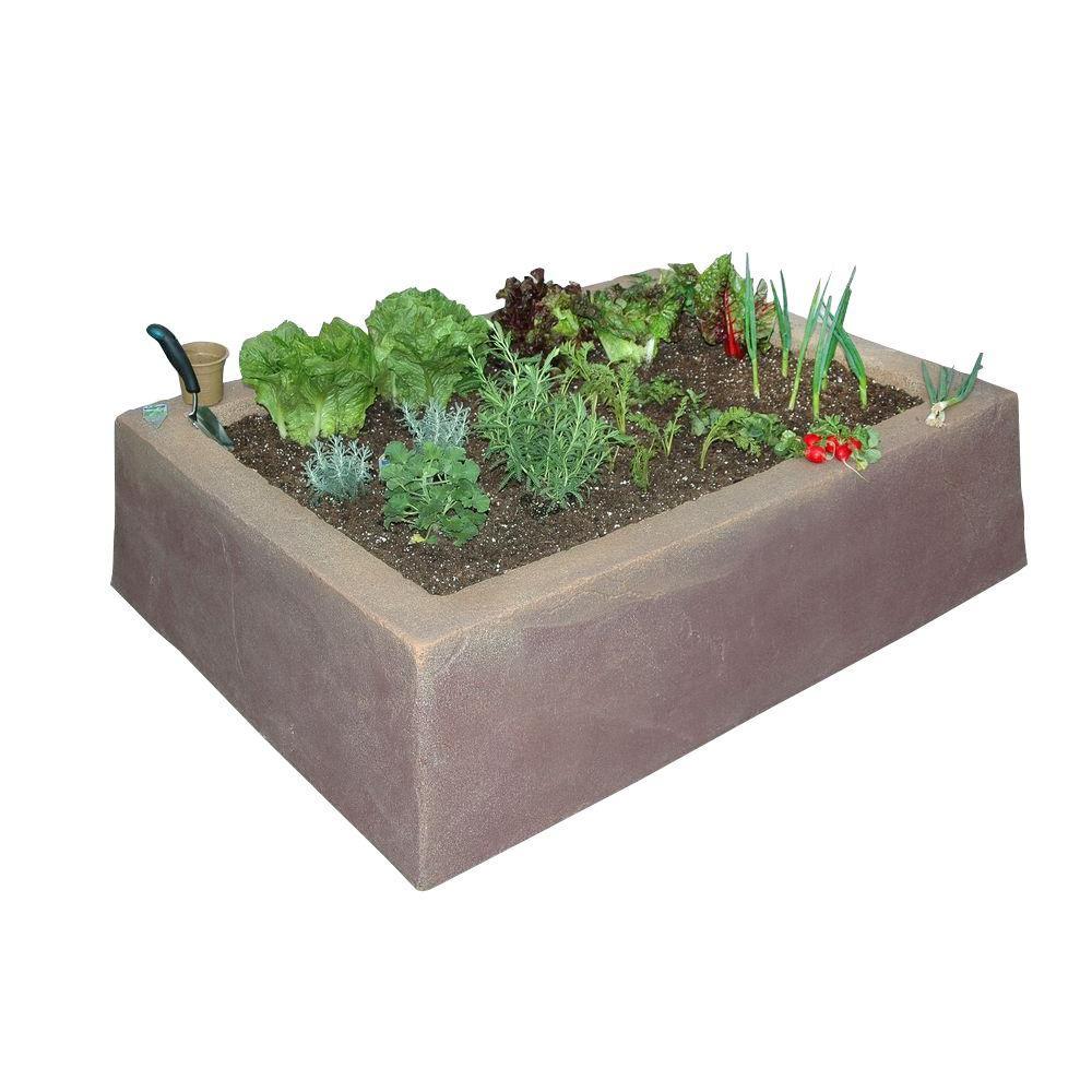 Dekorra 62 in. L x 46 in. W x 16 in. H Large Rectangular Plastic Raised Garden Box in Tan/Brown