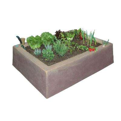 62 in. L x 46 in. W x 16 in. H Large Rectangular Plastic Raised Garden Box in Tan/Brown