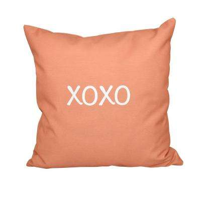 16 in. x 16 in. Coral XOXO Word Print Pillow