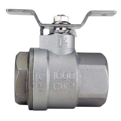 1-1/2 in. Stainless Steel FNPT x FNPT Full-Port Ball Valve With Tee Handle