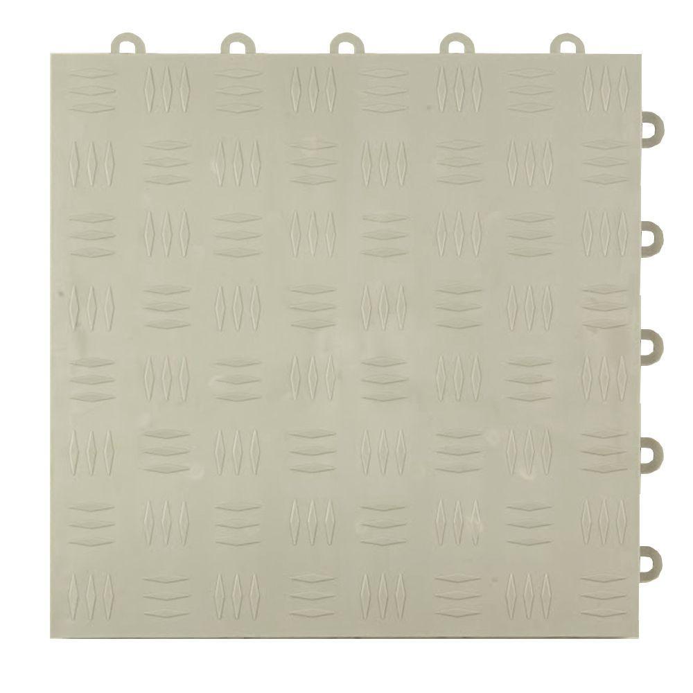 Diamond Top 1 ft. x 1 ft. x 1/2 in. Light Gray Polypropylene Interlocking Garage Floor Tile (Case of 24)