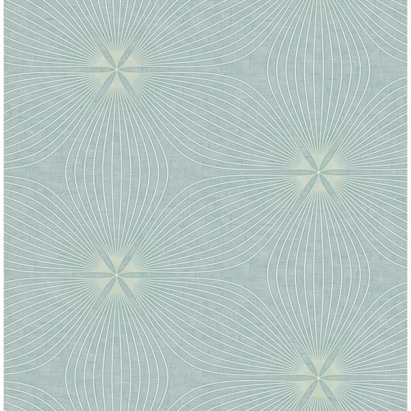 Seabrook Designs Lucy Ocean Blue and White Starburst Wallpaper RL61104