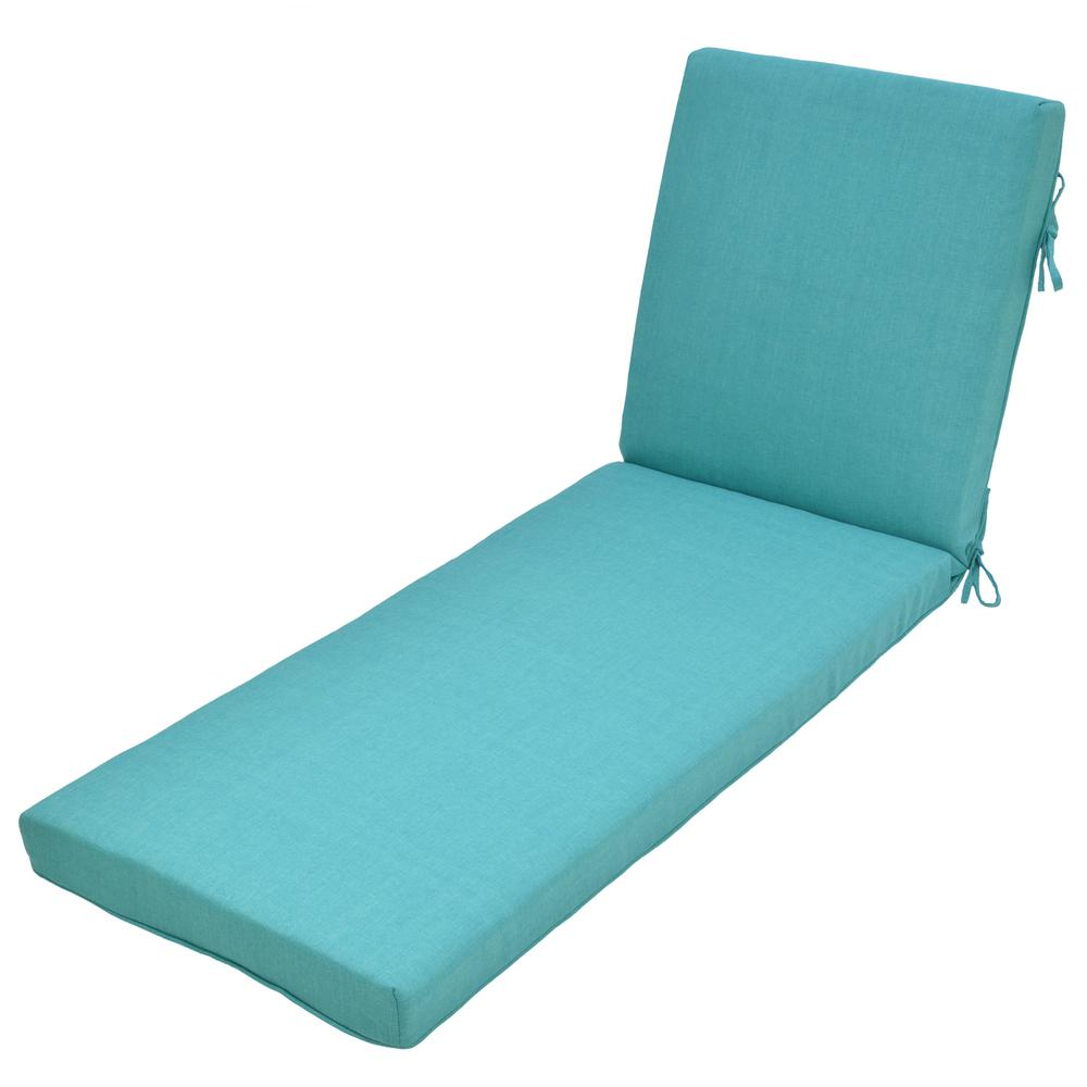 Hampton Bay 21 In X 47 In Outdoor Chaise Lounge Cushion In Standard Seaglass