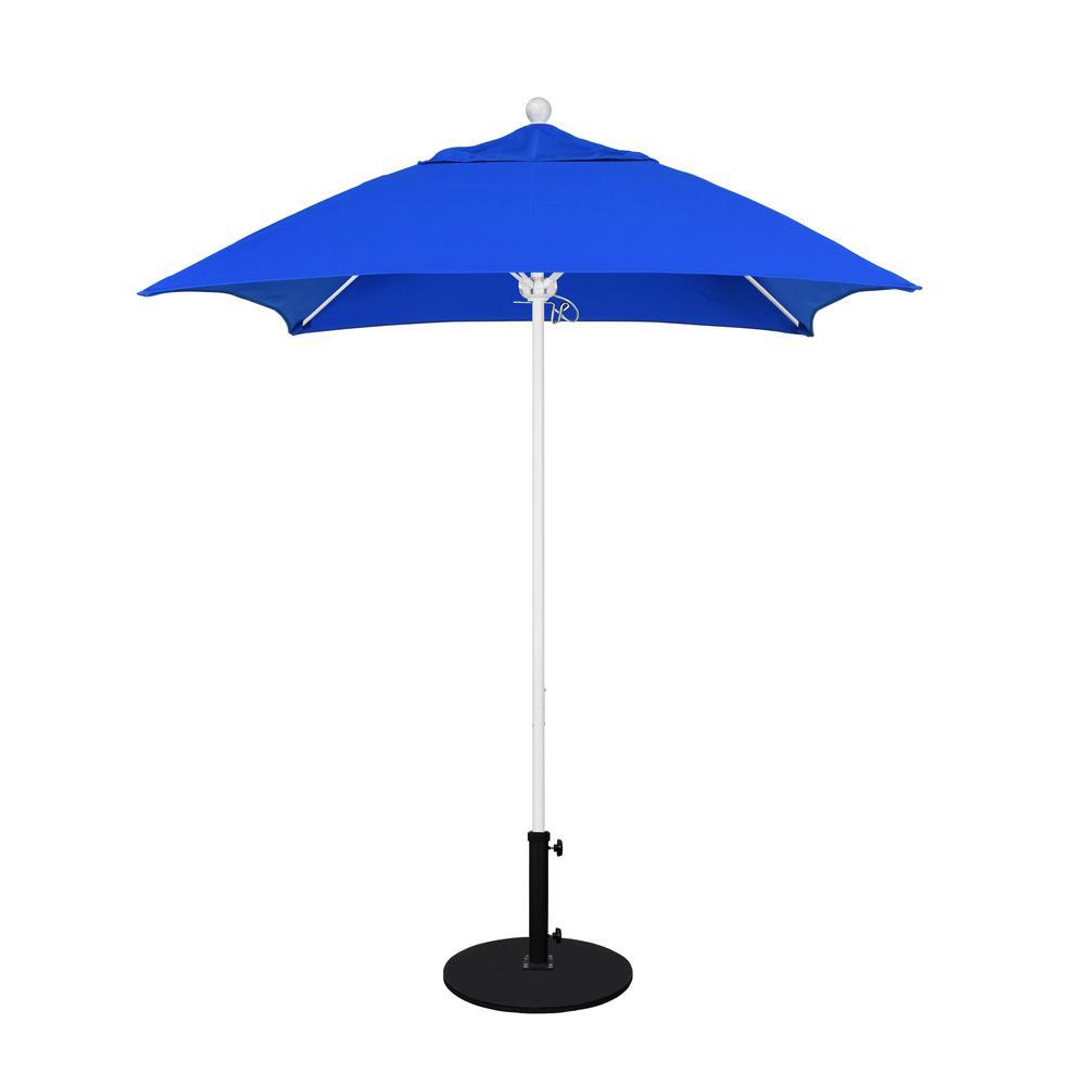 California Umbrella 6 ft. White Aluminum Pole Market Fiberglass Ribs Push Lift Patio Umbrella in Pacific Blue Sunbrella