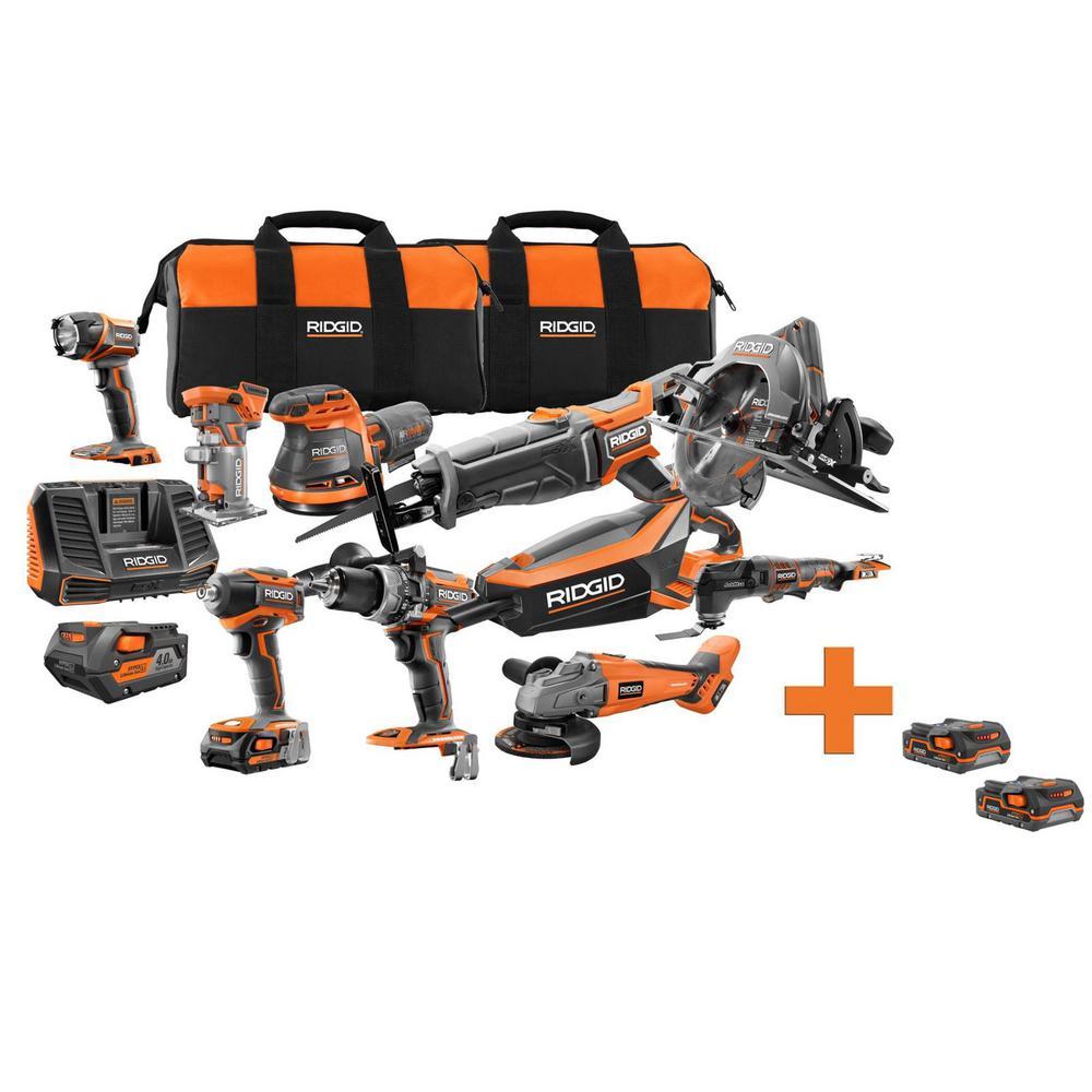 18-Volt Cordless Brushless 10-Piece Combo Kit with Bonus 18-Volt 1.5 Ah Lithium-Ion Battery (2-Pack)