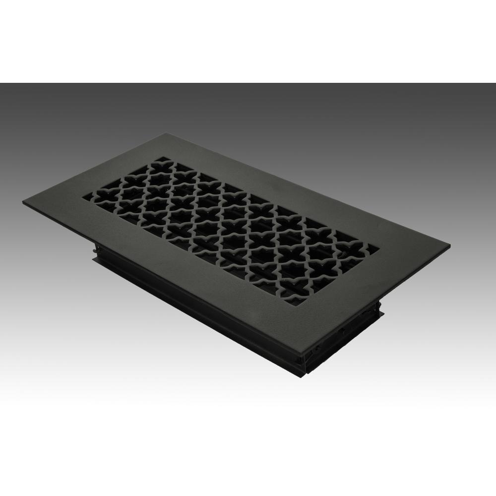 10 in. x 4 in. Black Poweder Coat Steel Floor Vent with Opposed Blade Damper