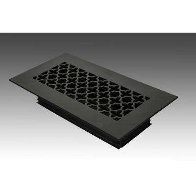 12 in. x 4 in. Black Poweder Coat Steel Floor Vent with Opposed Blade Damper