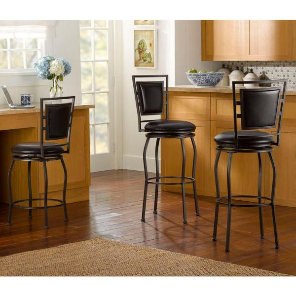 Linon Home Decor Townsend Adjustable Height Dark Brown Cushioned Bar Stool