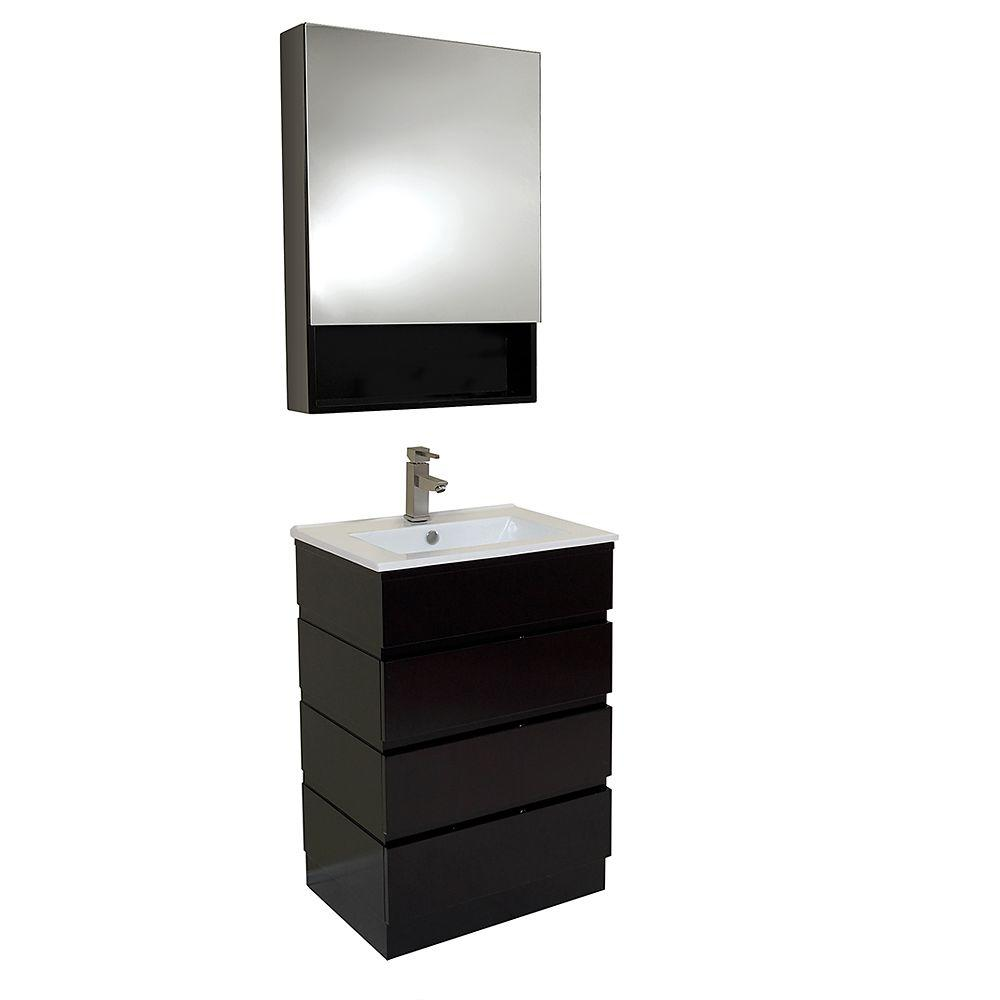 Good Vanity In Espresso With Marble Vanity Top In White With White