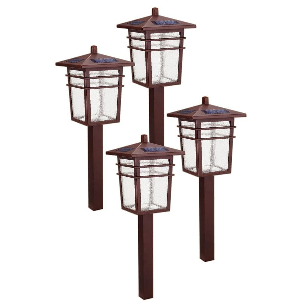 Delightful Hampton Bay Solar Bronze Outdoor Integrated LED Square Mission Landscape  Path Light Kit (4 Pack) 49603 300MG   The Home Depot