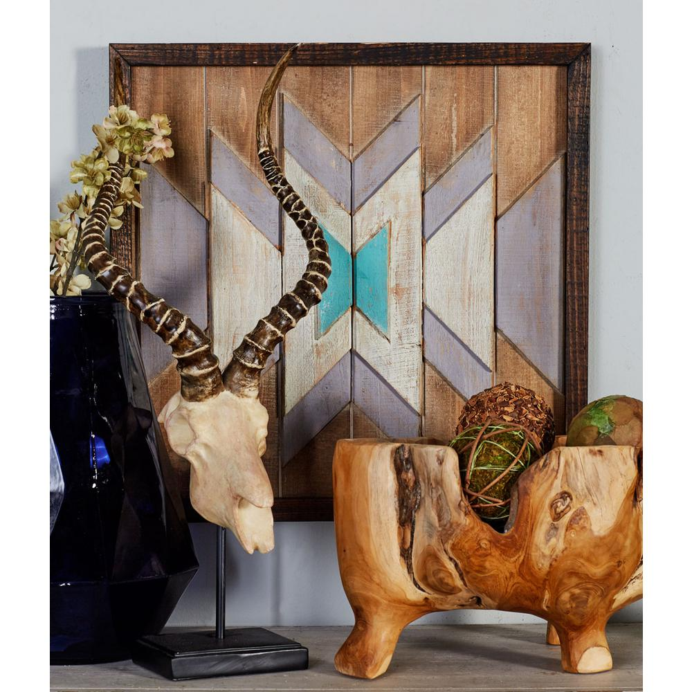"20 in. x 20 in. ""Symmetrical Geometric Pattern"" Framed Wooden Wall"