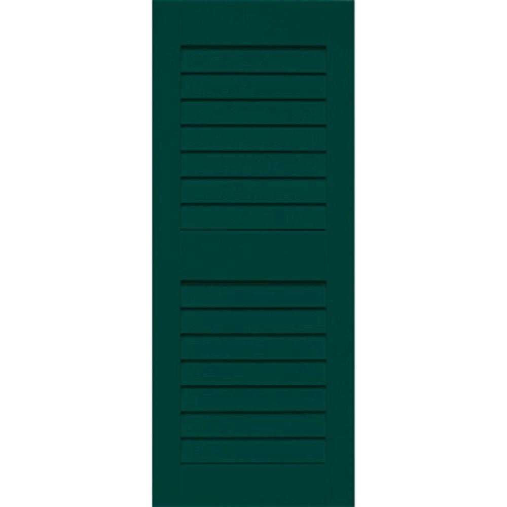 Home Fashion Technologies 14 in. x 53 in. Solid Wood Louver Exterior Shutters 4 Pair Behr Hidden Forest-DISCONTINUED
