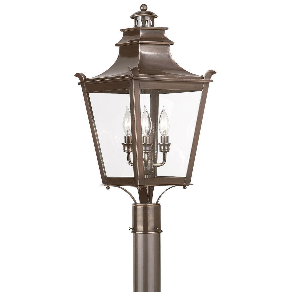 Troy Lighting Dorchester 3 Light Outdoor English Bronze Post
