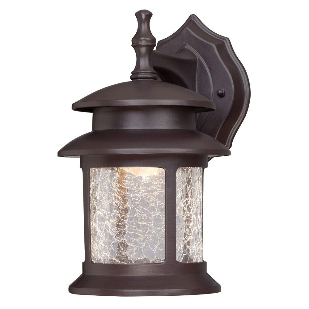 1 Light Oil Rubbed Bronze Outdoor Integrated Led Wall Mount Lantern