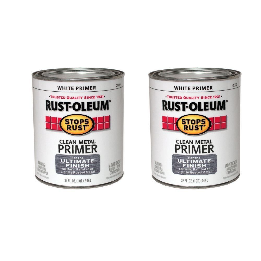 Stops Rust 32 oz. Gloss Oil-Based White Clean Metal Primer (2-Pack)-DISCONTINUED
