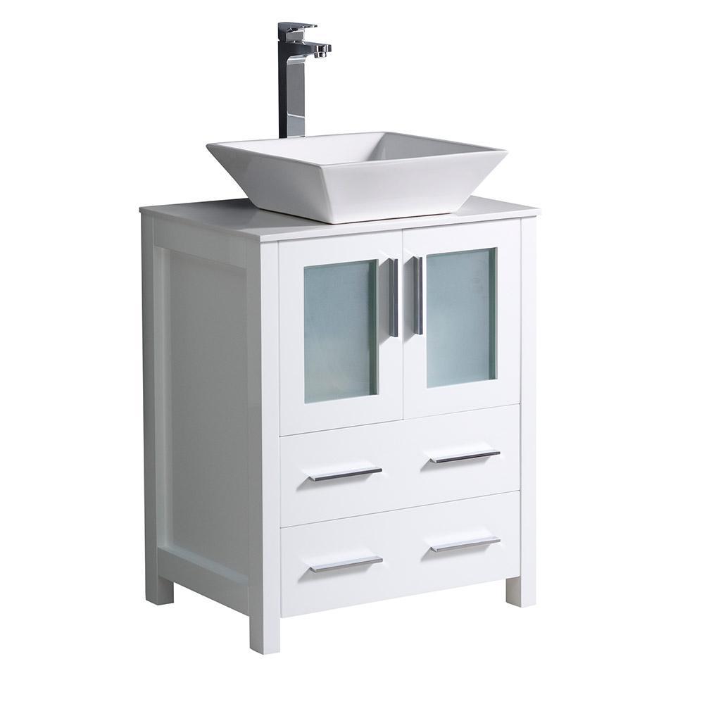 Fresca Torino 24 in. Bath Vanity in White with Glass Stone Vanity Top in White with White Basin