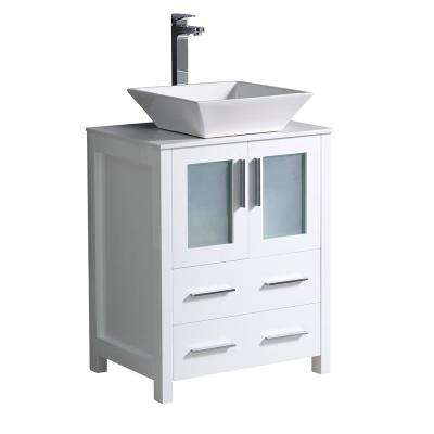 Torino 24 in. Bath Vanity in White with Glass Stone Vanity Top in White with White Basin