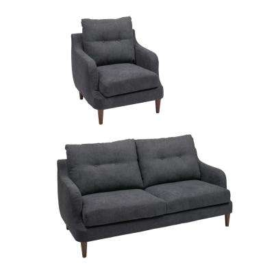 Victoria Navy Blue Fabric 2 Piece Chair And Sofa Set