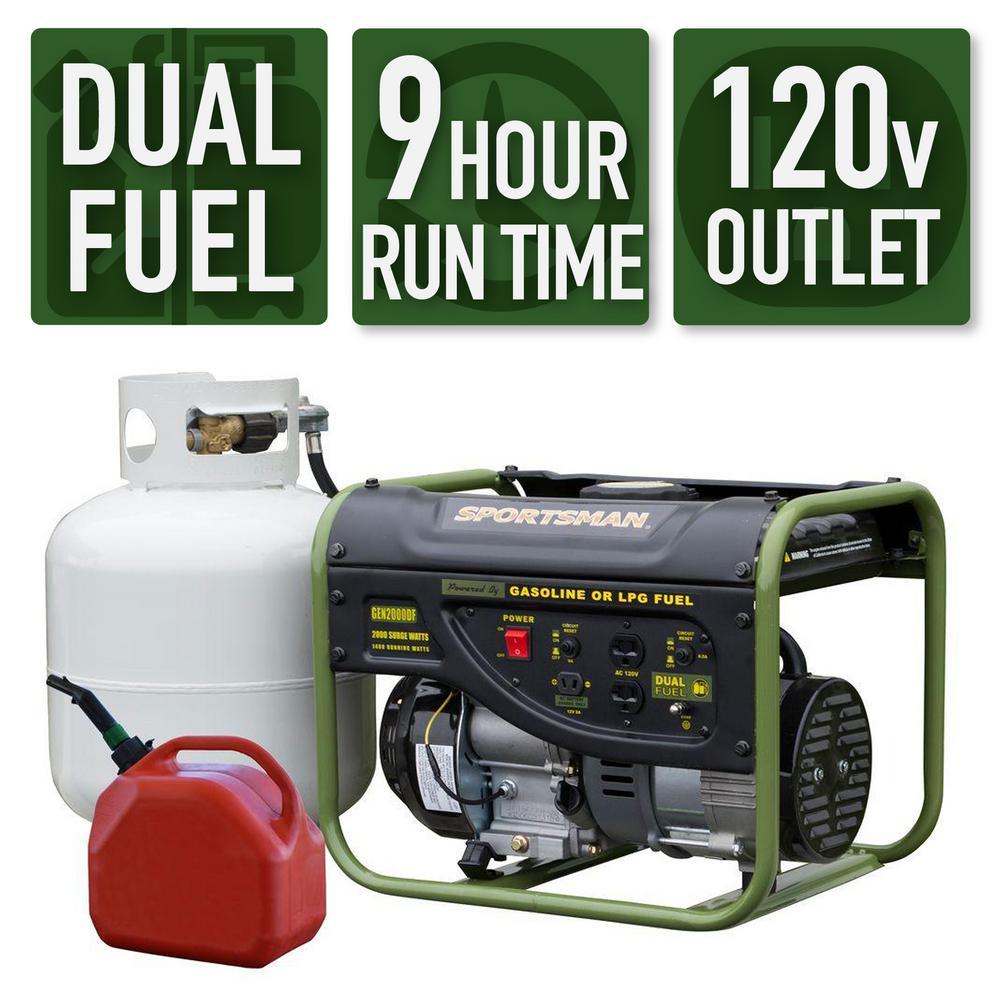 Sportsman 2,000/1,400-Watt Dual Fuel Powered Portable Generator Runs on LPG  or Regular Gasoline