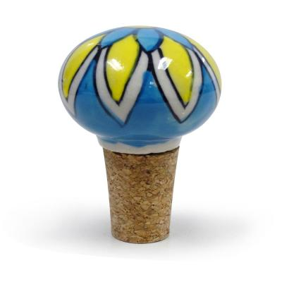 2-Piece Blue And Yellow Floral Ceramic Bottle Stopper Set
